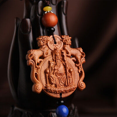 Chinese Wealth Guan Gong Yu Pixiu Hollow out Sculpture Wood Carving Car Pendant
