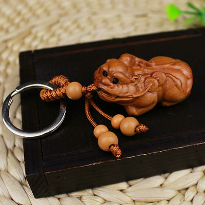Pi Xiu Yao Statue Wood 3D Carving Chinese Wealth Sculpture Pendant Key Chain