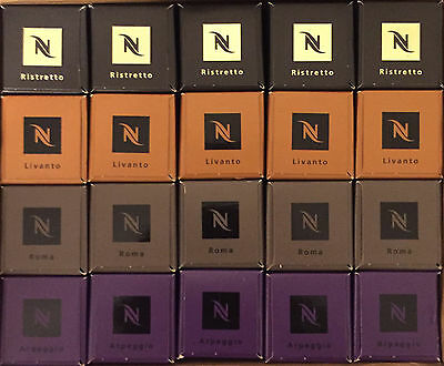 Nespresso 40 Most Popular Capsules (1 Sleeve per Flavour)