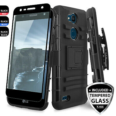 For LG X Charge/Fiesta 2 LTE/Power 2 3/ Rugged Case Holster+Clear Tempered Glass