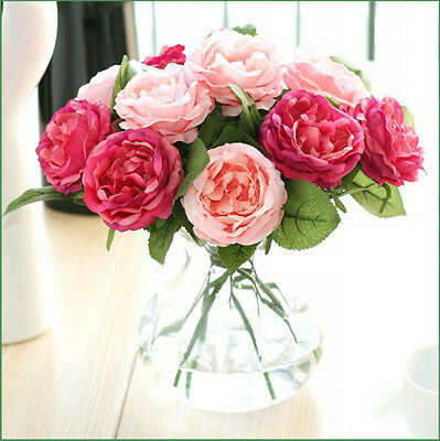 Artificial Fake Single Stem Rose Flower Plant Bridal Wedding Party Decoration