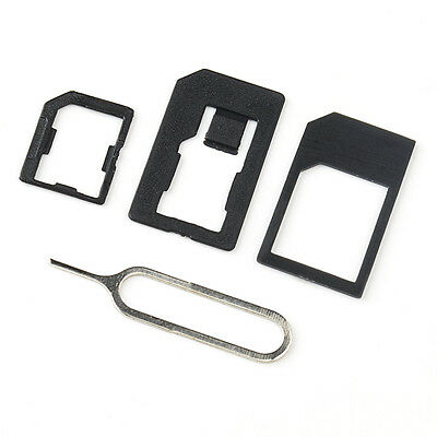 NEW 4 in 1 Pack Nano To Micro & Standard SIM Card Adapter for All Mobile Phones