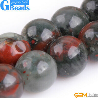 """Natural Africa Bloodstone Round Beads For Jewelry Making Free Shipping 15""""Strand"""