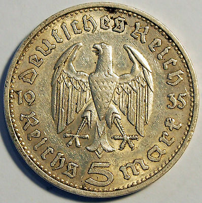1935 'G' - German Reich - 5 Mark Silver coin - average circulated condition