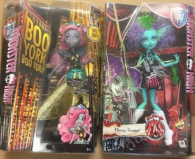 Monster High - Boo York Mouscedes King + Freak Du Chic Honey Swamp Dolls Set New