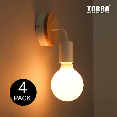 4-Pack Modern Colorful Indoor Wall Sconce Light W/ Wooden Plate Fitting E27