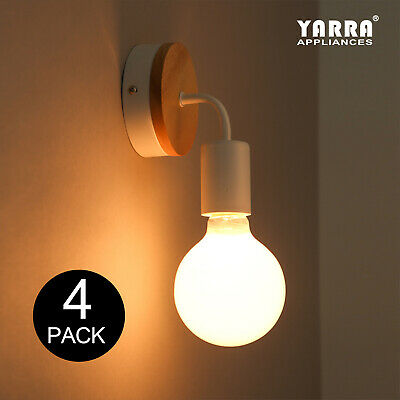 4 Pack Modern Colorful Indoor Wall Sconce Light W/ Wooden Plate Fitting E27