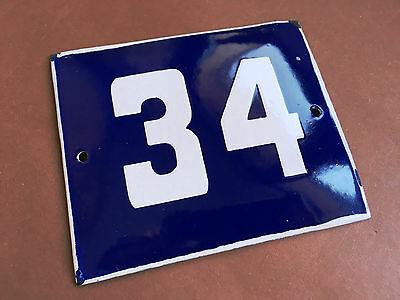ANTIQUE VINTAGE ENAMEL SIGN HOUSE NUMBER 34 BLUE DOOR GATE STREET SIGN 1950's