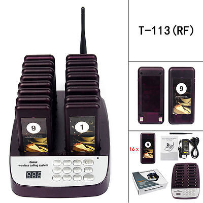 16 Call Coaster Pagers 999CH Restaurant Paging Queuing Waiter Calling System Set