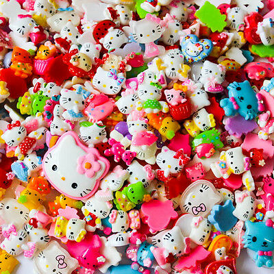 50g. Mix Assorted Hello Kitty Cute Resin Flatback Scrapbooking Button Cabochons
