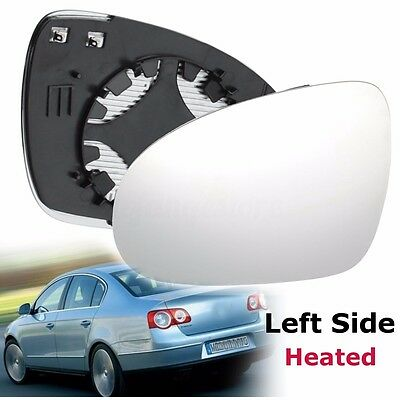 Left Passenger side Clip on heated wing door mirror glass for VW Passat B6 05-10