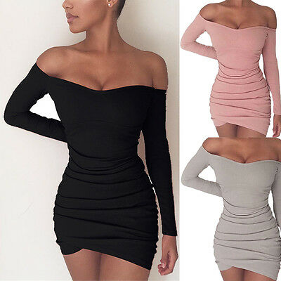 Sexy-Womens-Long-Sleeve-Bandage-Bodycon-Evening-Party-Cocktail-Club-Mini-Dress