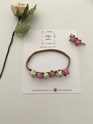 Mulberry Flower Baby Headband - Boho Baby Headband- Mulberry Headband