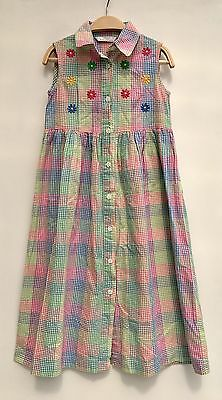 Vintage Girls 70s 80s St Michael Rainbow Gingham Floral Cotton Shirt Dress Age 7