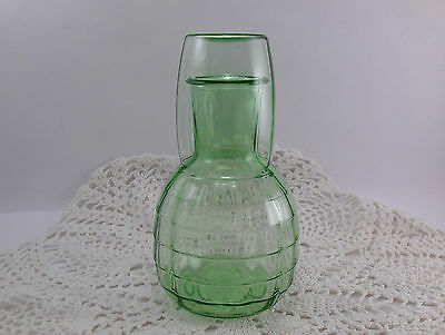 Green Depression Glass Tumble Up Night Set Carafe and Water Tumbler