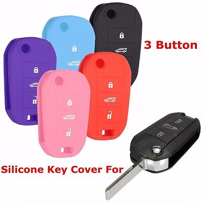 3 Button Silicone Remote Flip Key Fob Case Shell For PEUGEOT 301 208 308 408 508