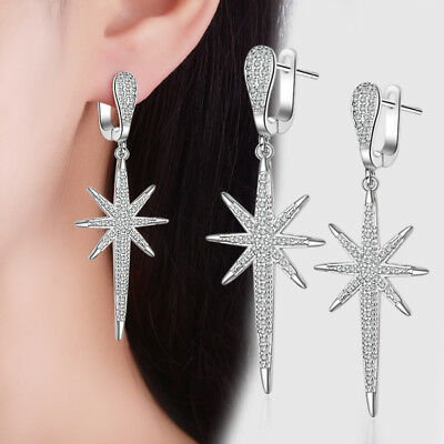 Fashion Solid 925 Sterling Silver Zircon Star Tassel Ear Hoop Dangle Earrings