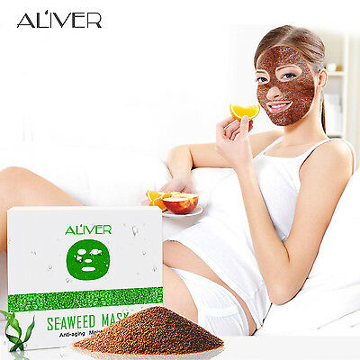 10pcs Natural Seaweed Anti-Ageing Silk Collagen Moisturizing Face Mask by ALIVER