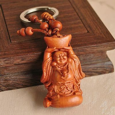 Happy Maitreya Buddha Wood 3D Carving Chinese Fengshui Pendant Key Chain Keyring