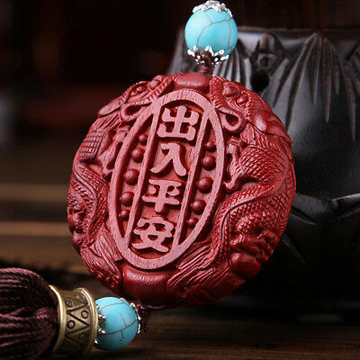 Precious Lobular Red Sandalwood Rose Wood Carving Chinese Safe Trip Car Pendant