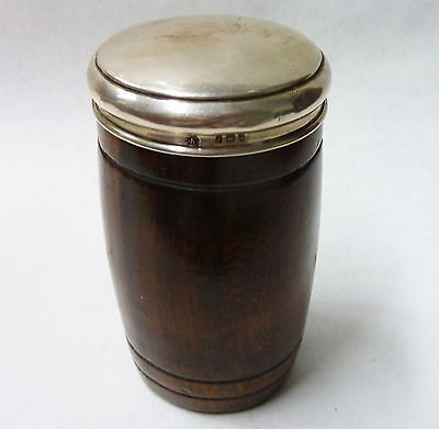 Rare Antique Solid Silver Topped Tobacco Barrel - Charles May London 1919