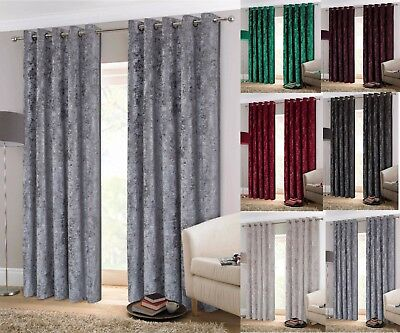 Crush Crushed Velvet Eyelet Ring Top Lined Curtains Grey Silver Cream Mink