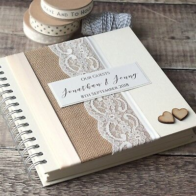 Rustic Hessian Personalised Wedding Guest Book With Wooden Hearts & Lace