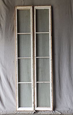 Early Antique Pair Sidelights Transom Vintage Old Privacy Pebbled 67x11 81-17P