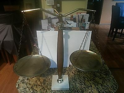 """Vintage Brass & Wood with Marble Base - Balance Scale of Justice 17"""" inch tall"""
