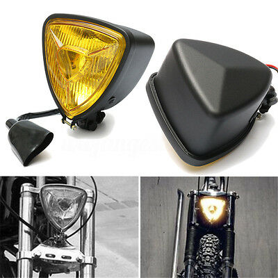 12V 35W Yellow Universal Motorcycle Triangle Headlight Headlamp Hi/Lo for Harley