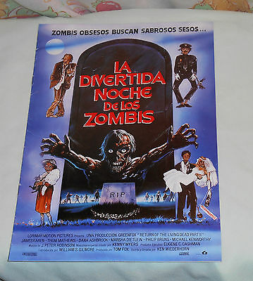original Mexican RETURN OF THE LIVING DEAD PART II PRESSBOOK James Karen