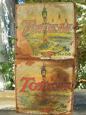 2 Waitt & Bond Totem Cigar Boxes Boston Mass No Lids Union Made Boxes Dated 1909