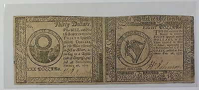 1777 Colonial Currency $30 and $8 2 Subject Uncut Pair Never Used EX Fine GH