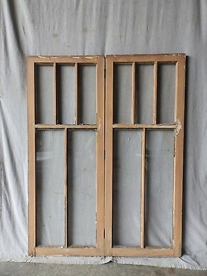Pr Vintage Casement Windows Pantry Cupboard Door Shabby Bookcase 20x54 90-17P