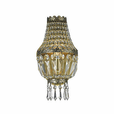 "1 Light Antique Bronze Finish 6"" x 12"" Frigg Crystal Wall Sconce Light"