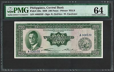 (1949) ND Philippines 200 Pesos Central Bank TDLR PMG Choice UNC 64 (Pick 140a)