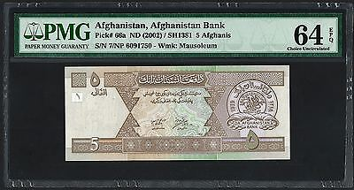 (2002) ND Afghanistan 5 Afghanis PMG Choice UNC 64 EPQ (P66a)