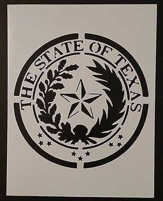 "State Seal of Texas 8.5"" x 11"" Custom Stencil FAST FREE SHIPPING"