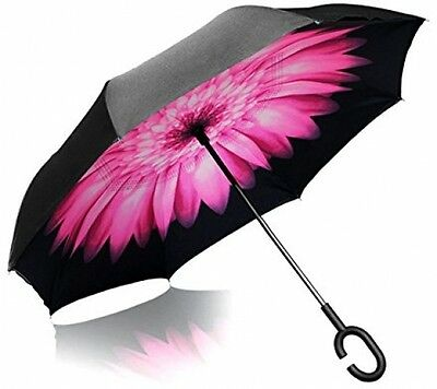 ITrunk Double Layer Reverse Folding Umbrella With C-Shaped Hands Free Handle -