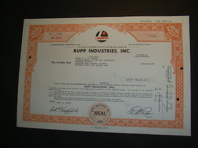 Rupp Industries, Inc. 1975 shares, (snow mobiles, Schneemobile)