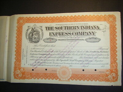 Southern Indiana Express Company, #3! interesting double certificate, 1903