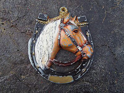 Vintage Cast Iron Horse Shoe with Horse Head Painted Wall Hanging Plaque
