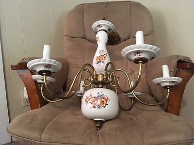 Vintage Lovely Chandelier Porcelain & Brass 5 Arm Floral Flowers Country Kitchen