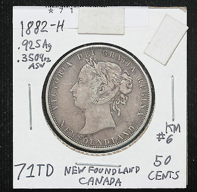 1882-H Newfoundland Canada 50 Cents Sterling Silver KM 6