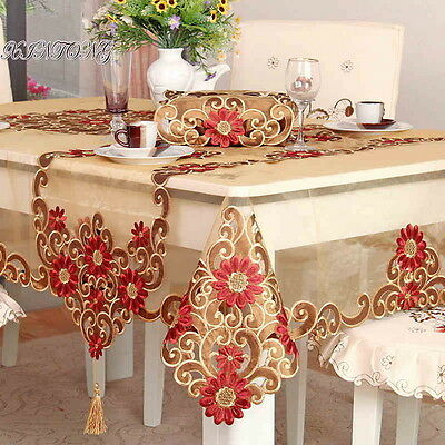 HBZ351 fabric red lace Illustration tablecloth table cloth cover embroidery NM