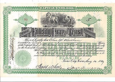 The Fidelity Loan And Trust Company (Sioux City,iowa)...1889 Stock Certificate