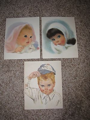 3 Northern Tissue Baby girl Print lithograph ads 1960s Vintage