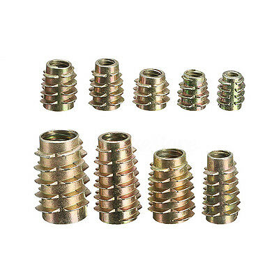 M4 M5 M6 M810 Hex Drive Screw In Threaded Insert Nuts Bushing For Wood Type E