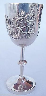 Antique Chinese Export Silver small Goblet Antique w Dragon C1880 (#4186)