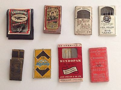 Vintage Sewing Needle Packets (8) Piccadilly, Queen Royal, Crowley, John English